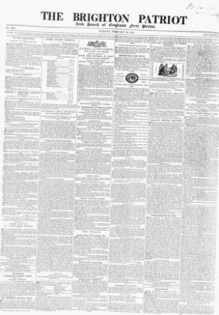 cover page of Brighton Patriot published on February 12, 1839