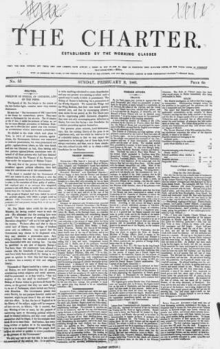 cover page of The Charter published on February 9, 1840