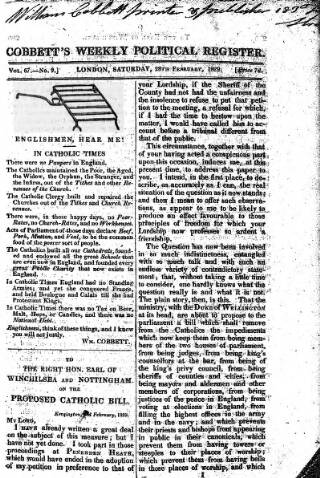 cover page of Cobbett's Weekly Political Register published on February 28, 1829