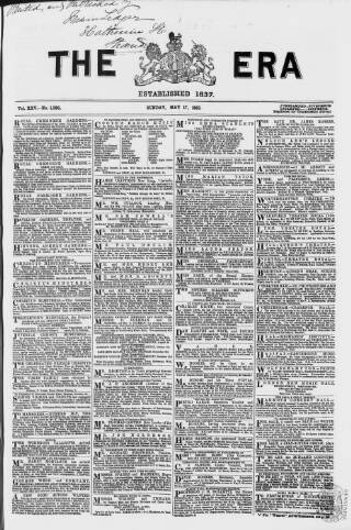 cover page of The Era published on May 17, 1863