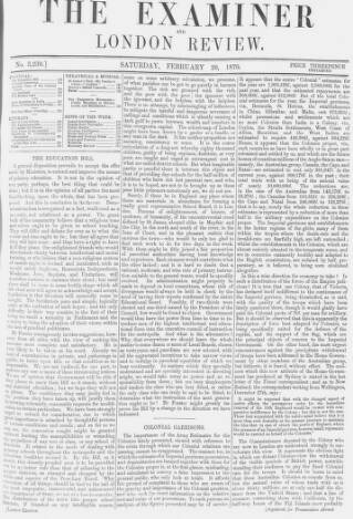 cover page of The Examiner published on February 26, 1870
