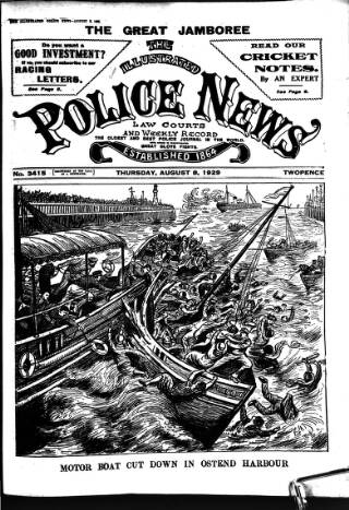 cover page of Illustrated Police News published on August 8, 1929