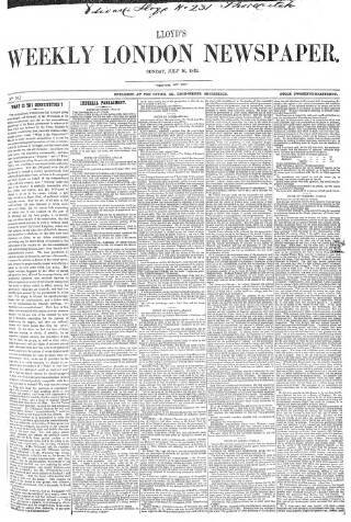 cover page of Lloyd's Weekly Newspaper published on July 16, 1843