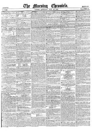 cover page of Morning Chronicle published on July 16, 1859
