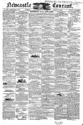 cover page of Newcastle Courant published on March 9, 1849