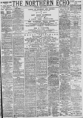 cover page of Northern Echo published on July 7, 1891