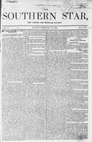cover page of Southern Star published on February 16, 1840