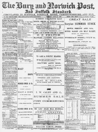 cover page of Bury and Norwich Post published on July 11, 1893
