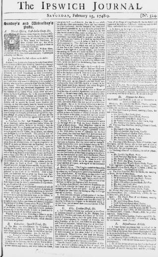 cover page of Ipswich Journal published on February 25, 1749