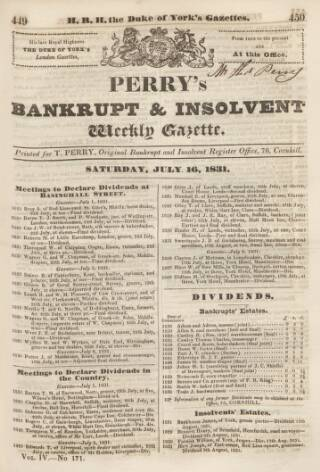 cover page of Perry's Bankrupt Gazette published on July 16, 1831