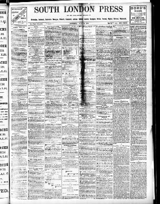 cover page of South London Press published on July 11, 1896