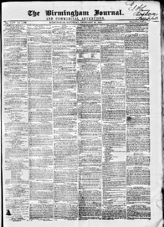 cover page of Birmingham Journal published on February 26, 1848