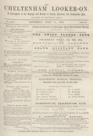 cover page of Cheltenham Looker-On published on July 11, 1874