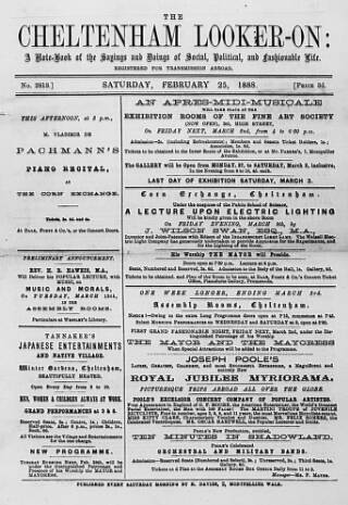 cover page of Cheltenham Looker-On published on February 25, 1888
