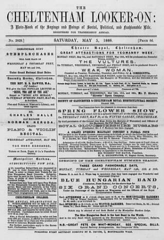 cover page of Cheltenham Looker-On published on May 5, 1888
