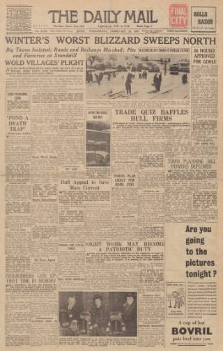 cover page of Hull Daily Mail published on February 26, 1947