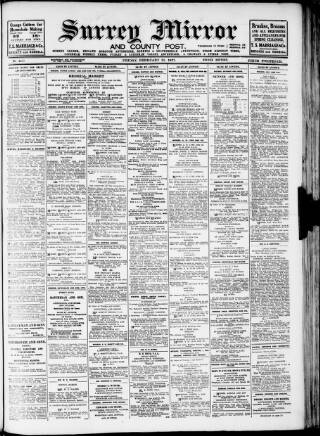 cover page of Surrey Mirror published on February 25, 1927