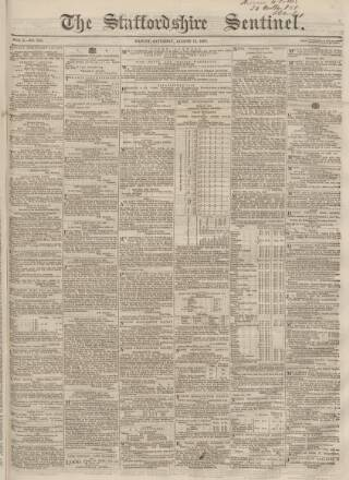 cover page of Staffordshire Sentinel and Commercial & General Advertiser published on August 15, 1863