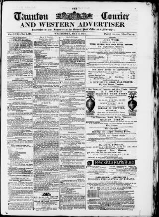 cover page of Taunton Courier, and Western Advertiser published on May 5, 1875