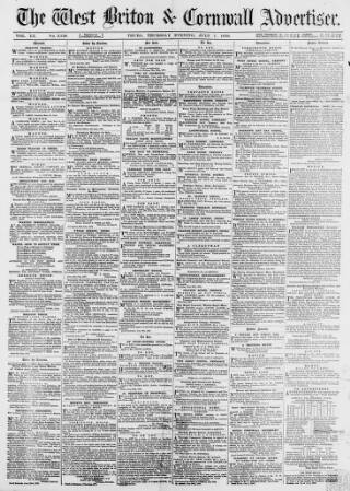 cover page of West Briton and Cornwall Advertiser published on July 7, 1870