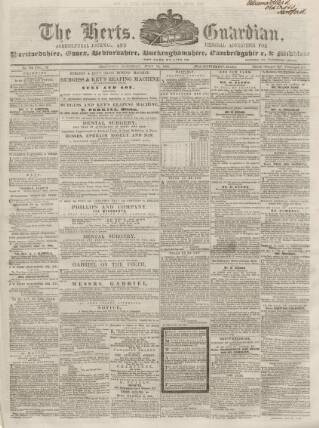 cover page of Herts Guardian, Agricultural Journal, and General Advertiser published on July 14, 1860