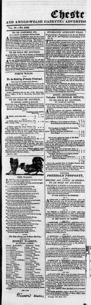 cover page of Chester Courant published on May 15, 1821