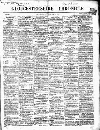 cover page of Gloucestershire Chronicle published on July 14, 1860