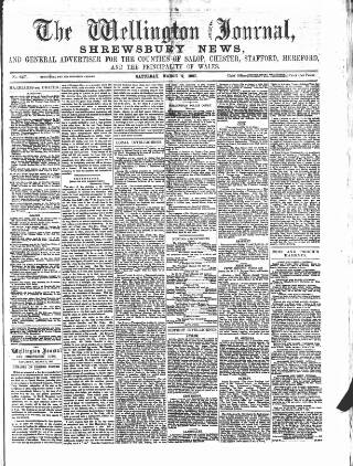 cover page of Wellington Journal published on March 9, 1867