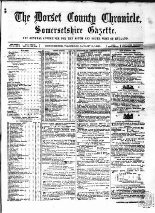 cover page of Dorset County Chronicle published on August 8, 1861