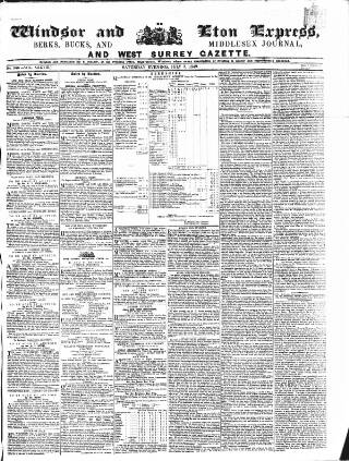 cover page of Windsor and Eton Express published on July 7, 1849
