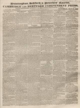 cover page of Huntingdon, Bedford & Peterborough Gazette published on May 16, 1829