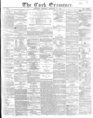 cover page of Cork Examiner published on February 25, 1869