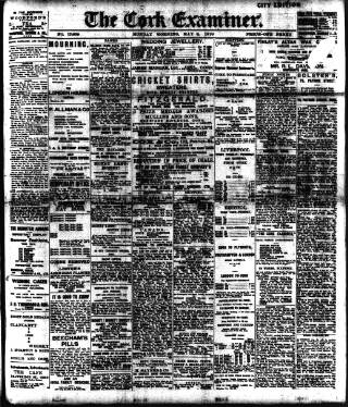 cover page of Cork Examiner published on May 9, 1910