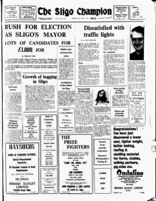 cover page of Sligo Champion published on July 7, 1972