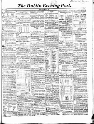 cover page of Dublin Evening Post published on May 17, 1856