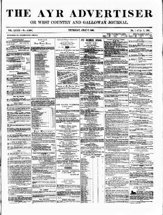 cover page of Ayr Advertiser, or, West Country Journal published on July 7, 1881