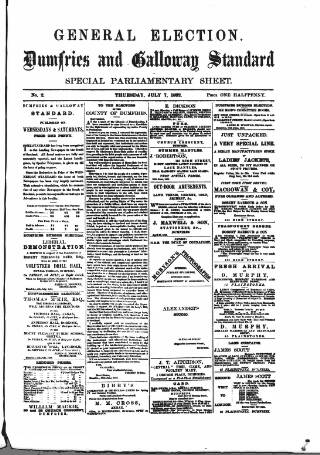cover page of Dumfries and Galloway Standard published on July 7, 1892
