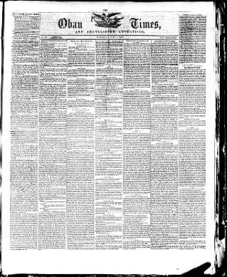 cover page of Oban Times, and Argyllshire Advertiser published on July 3, 1875