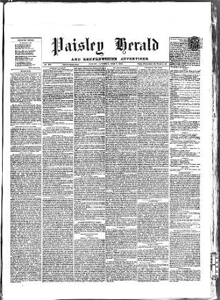 cover page of Paisley Herald and Renfrewshire Advertiser published on July 7, 1860