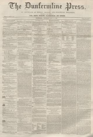cover page of Dunfermline Press published on July 16, 1862