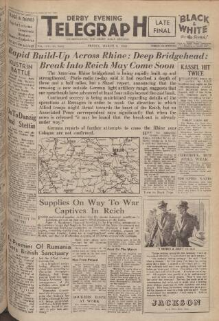 cover page of Derby Daily Telegraph published on March 9, 1945