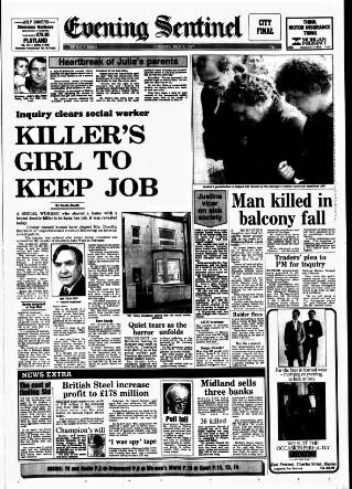 cover page of Staffordshire Sentinel published on July 7, 1987
