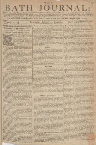 cover page of Bath Journal published on January 1, 1749