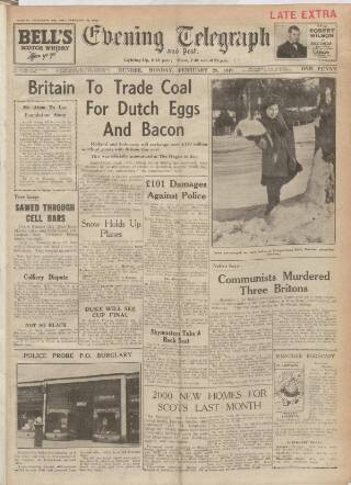 cover page of Dundee Evening Telegraph published on February 28, 1949