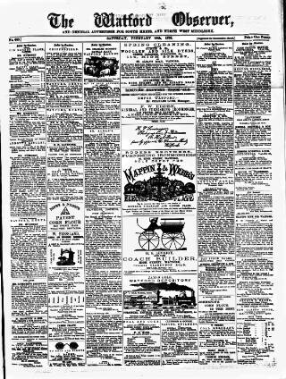 cover page of Watford Observer published on February 26, 1876
