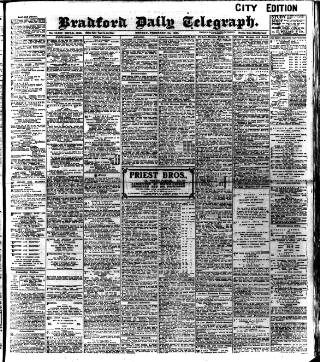 cover page of Bradford Daily Telegraph published on February 25, 1907