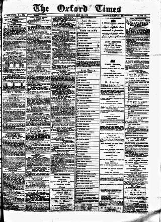 cover page of Oxford Times published on May 15, 1875