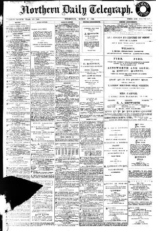 cover page of Northern Daily Telegraph published on March 9, 1910