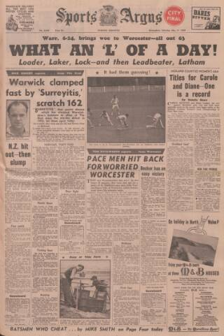 cover page of Sports Argus published on May 17, 1958