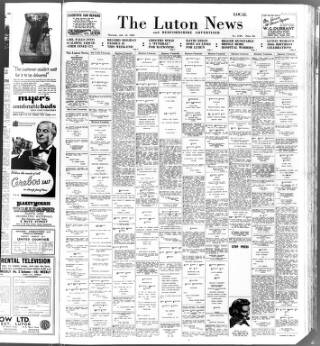 cover page of Luton News and Bedfordshire Chronicle published on July 15, 1954